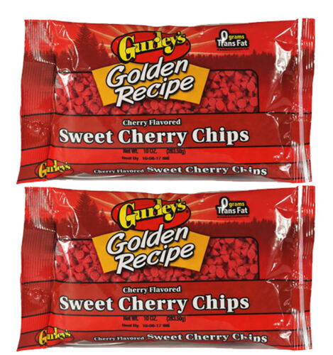 (2 Bags) Gurleys Golden Recipe Sweet Cherry Flavored Baking Chips, 10oz