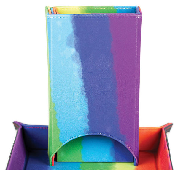 Fold Up Velvet Dice Tower: Watercolor Rainbow