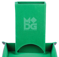 Fold Up Velvet Dice Tower: Green