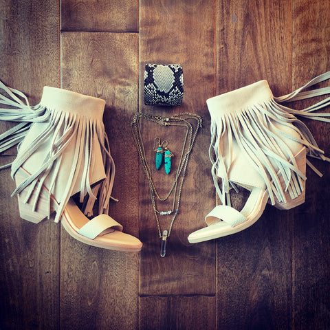 summer, fashion, trend, fringe, sandals, gypsy, jewels