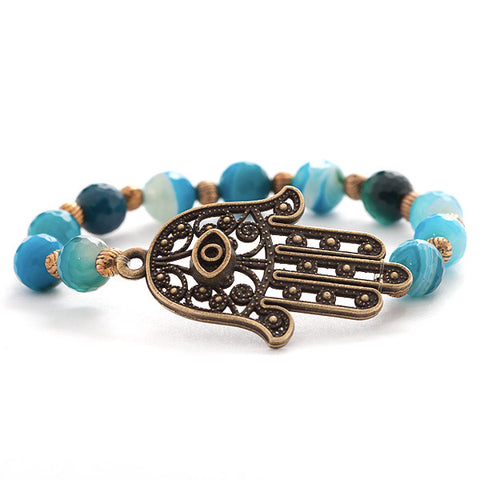 'hamsa hand' bracelet with blue brazilian agate