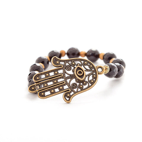 'hamsa hand' bracelet with black onyx