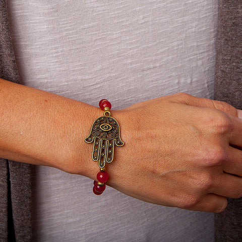'hamsa hand' bracelet with red jade