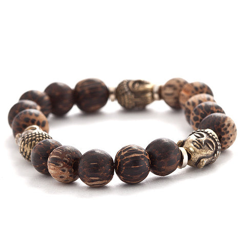 coconut palm bracelet with buddha accents
