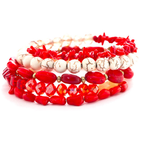 wire wrap bracelet with red coral
