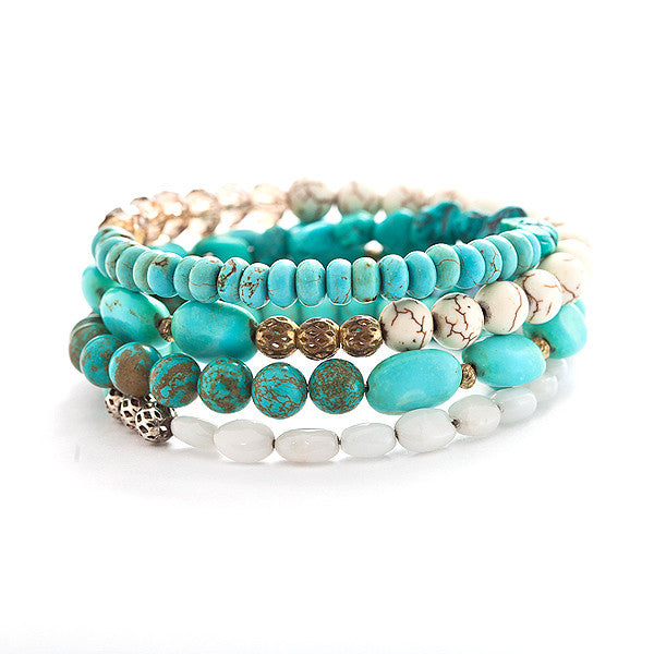 wire wrap bracelet with natural turquoise | Liana Paula