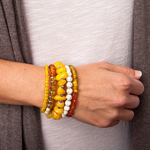 wire wrap bracelet with yellow agate