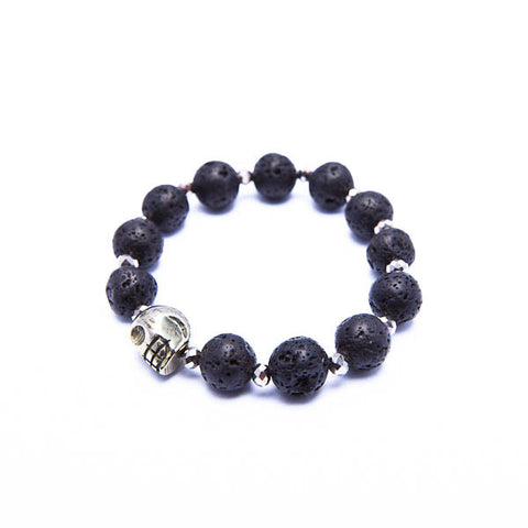 hawaiian lava bracelet with skull and crystals