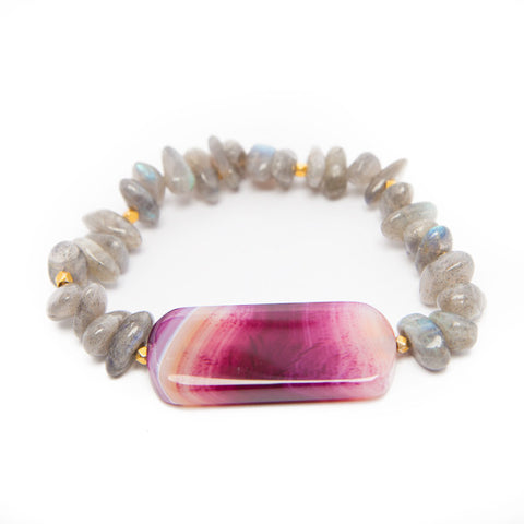crazy lace agate bracelet with labradorite