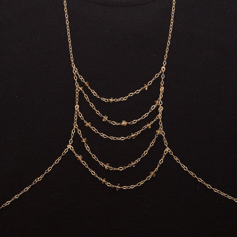 body chain with citrine - 'ciara'