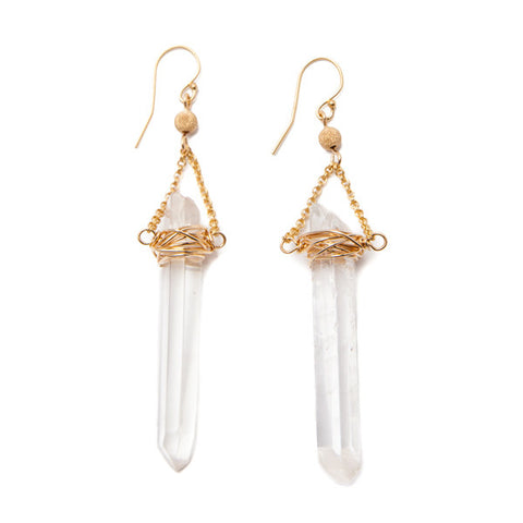 'sabre' earrings with crystal quartz