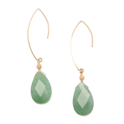 'featherweight' earrings with aventurine