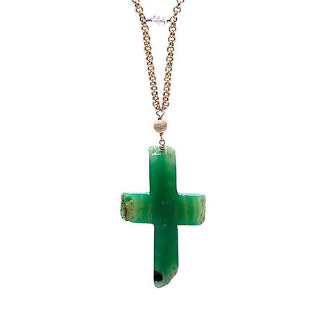 'grace' necklace with green agate cross