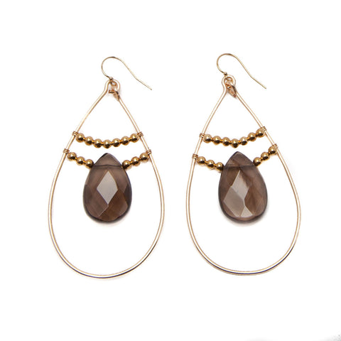 'amara' hoop earrings - smoky quartz