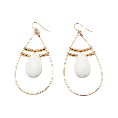 'amara' hoop earrings - white jade