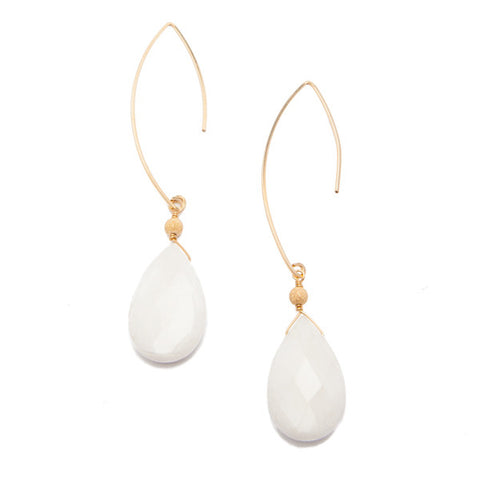 'featherweight' earrings with white jade