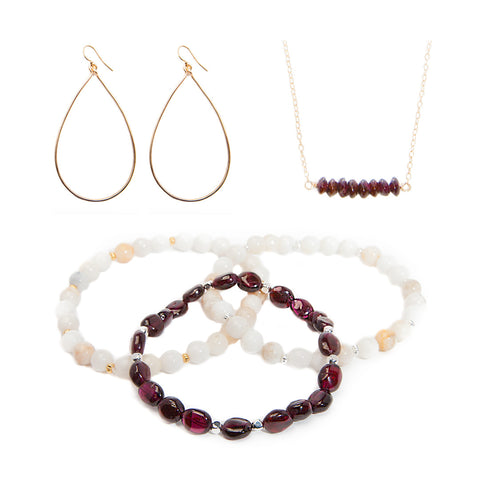 'love stone' gift set with garnet - $109