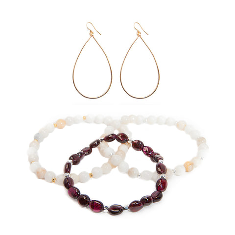 'love stone' gift set with garnet - $79