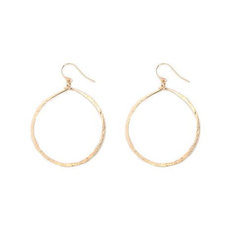 gold hammered round hoops - large