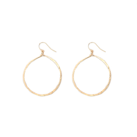 gold hammered round hoops - medium
