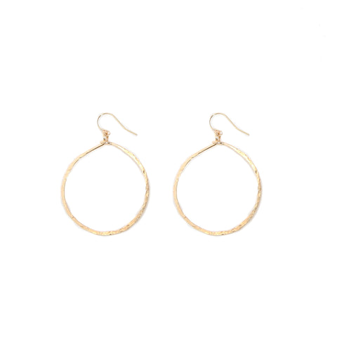gold hammered round hoops - small
