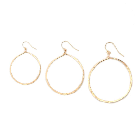 hammered round hoops - small