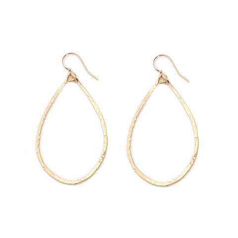gold hammered teardrop hoops - large