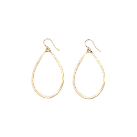 gold hammered teardrop hoops - small