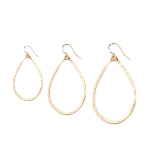 hammered teardrop hoops - medium