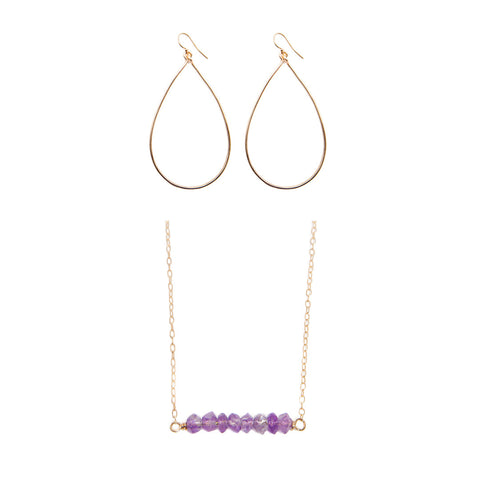 'love stone' gift set with amethyst - $79