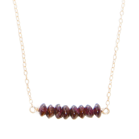'kara' necklace with garnet