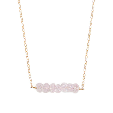 'kara' necklace with rose quartz