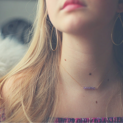 'kara' necklace with amethyst
