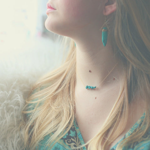 'kara' necklace with turquoise
