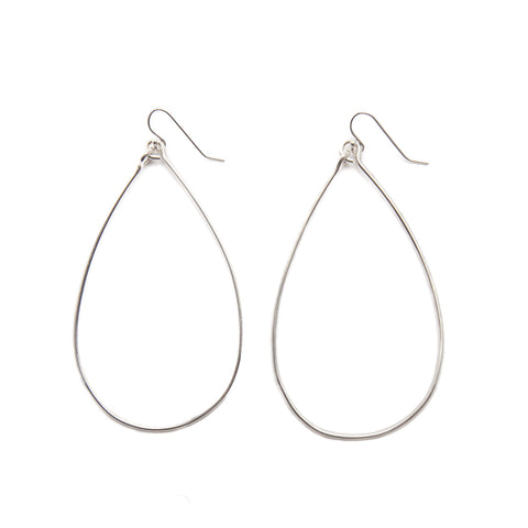 sterling silver teardrop hoop earrings - large