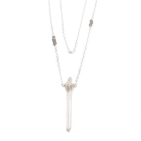 'isabella' necklace with crystal quartz - sterling silver