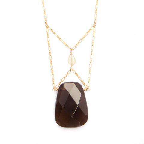 'christine' necklace with smoky quartz