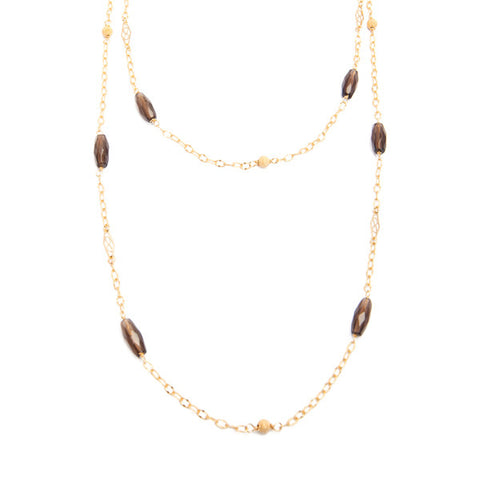 'dew drop' necklace with smoky quartz