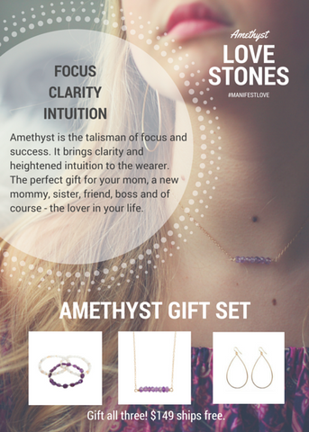 'love stone' gift set with amethyst - $109