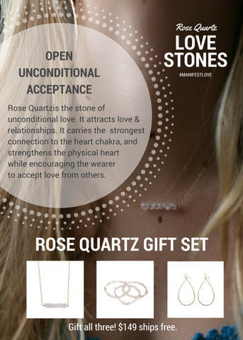 'love stone' gift set with rose quartz - $79