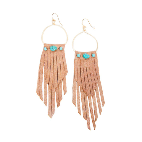 'rosalia' leather fringe earrings with genuine turquoise - tan
