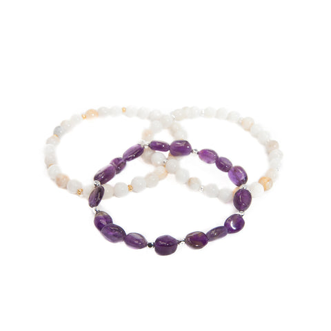 'love stone' bracelet set with amethyst
