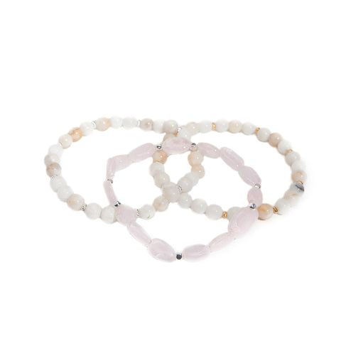 'love stone' bracelet set with rose quartz