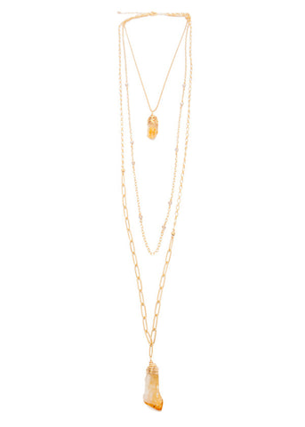 'triple threat' necklace with citrine