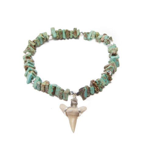 teal magnesite bracelet with sharks tooth
