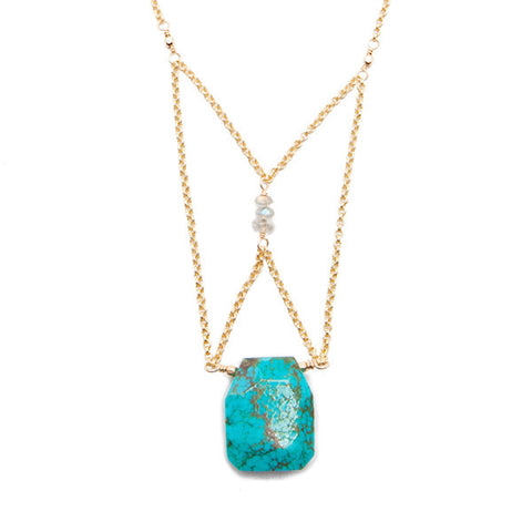 'crista' necklace with turquoise