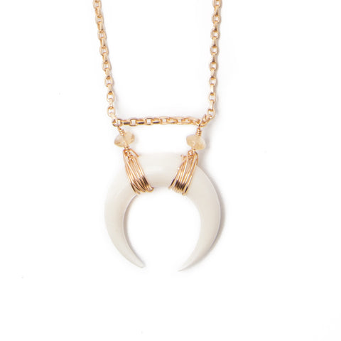 'selene' double horn crescent necklace - white - large