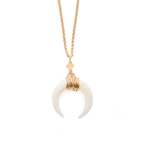 'selene' double horn crescent necklace - white - small