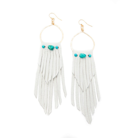 'rosalia' leather fringe earrings with genuine turquoise - white