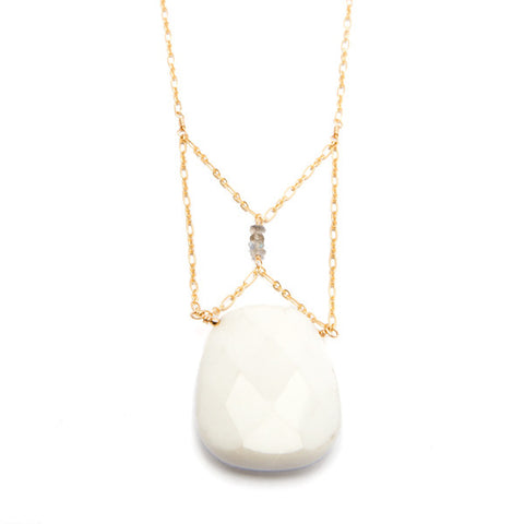 'christine' necklace with white jade